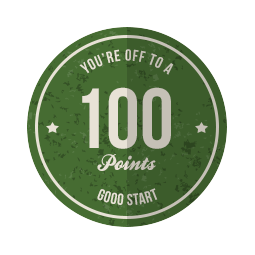 Woo Hoo! Congrats to @lindylor on her first badge of 100 points! You're off to a good start! 1